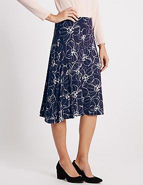 Floral Print A-Line Skirt, NAVY MIX, catlanding