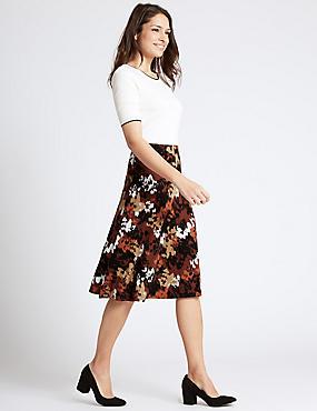 Printed A-Line Midi Skirt, BROWN MIX, catlanding