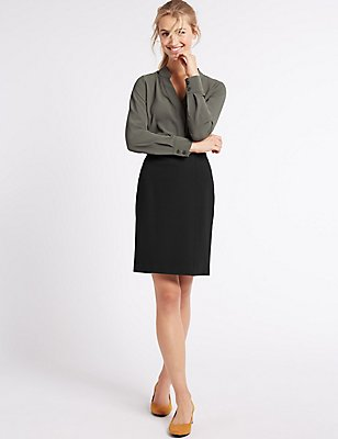 Jersey A-Line Mini Skirt, BLACK, catlanding