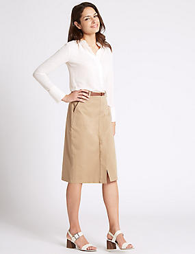 Cotton Rich Belted Pencil Midi Skirt, STONE, catlanding
