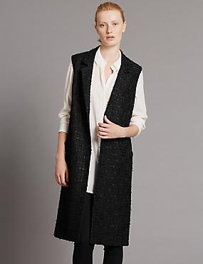Sleeveless Jackets with Wool, BLACK MIX, catlanding