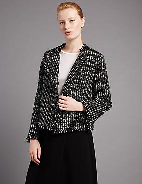 Linton Tweed Boxy Jacket with Wool, BLACK MIX, catlanding
