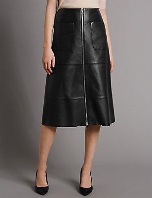 Pure Leather A-Line Skirt, BLACK, catlanding