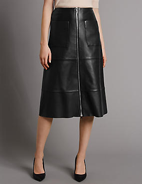 Pure Leather A-Line Skirt, BLACK, catlanding