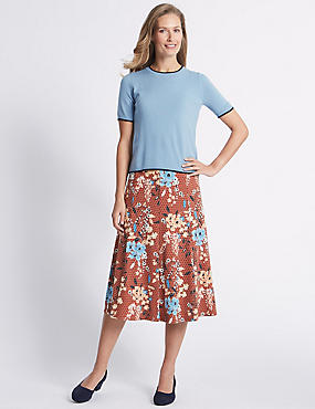 Floral Print Flocked A-Line Midi Skirt , ORANGE MIX, catlanding