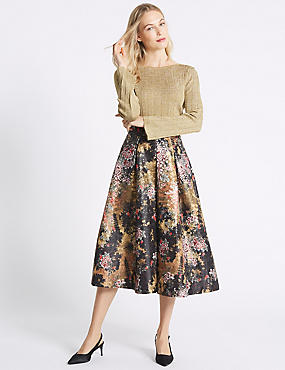 Floral Jacquard Full Midi Skirt, BLACK MIX, catlanding