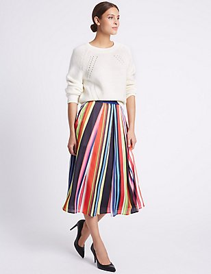 Striped A-Line Midi Skirt, MULTI, catlanding