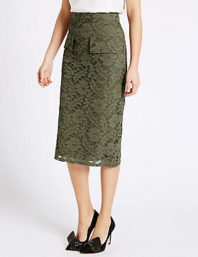 Lace Pocket Bodycon Skirt, KHAKI, catlanding