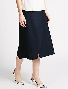Linen Blend Wrap Style Midi Skirt, NAVY, catlanding