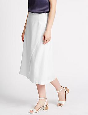 Linen Blend Wrap Style Midi Skirt, WHITE, catlanding