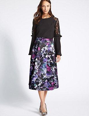Floral Print A-Line Midi Skirt, DARK NAVY MIX, catlanding