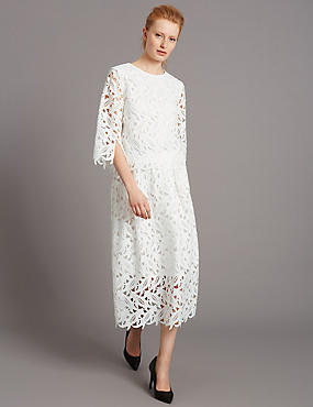 Lace A-Line Skirt, WHITE MIX, catlanding