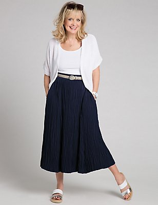 Crinkle A-Line Midi Skirt, NAVY, catlanding