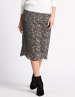 Leopard Print Pleated Skirt, BROWN MIX, catlanding