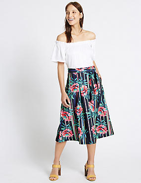 Striped Floral A-Line Midi Skirt, NAVY MIX, catlanding