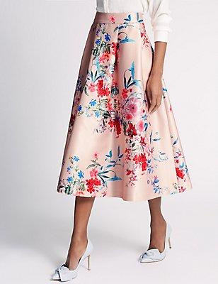 Floral Print A-Line Skirt , PINK MIX, catlanding