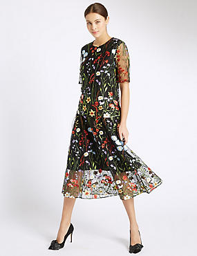 Floral Embroidered A-Line Skirt, BLACK MIX, catlanding