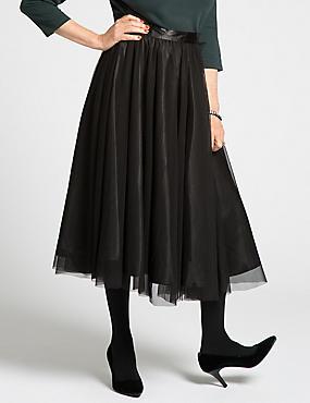 Mesh Tutu A-Line Skirt, BLACK, catlanding