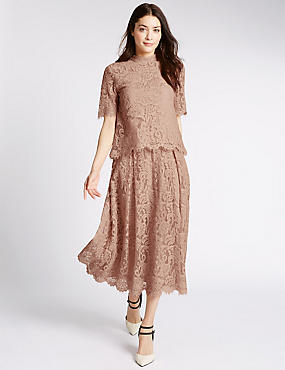 Cotton Blend Lace A-Line Skirt, BLUSH, catlanding