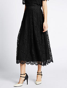 Cotton Blend Lace A-Line Skirt, BLACK, catlanding