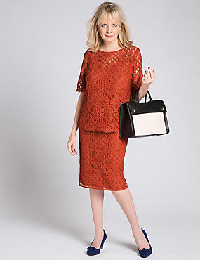 Cotton Blend Floral Lace A-Line Midi Skirt, HOT BRONZE, catlanding