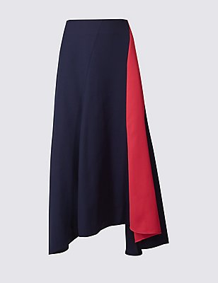 Colour Block Fluted Asymmetrical Midi Skirt, PINK MIX, catlanding