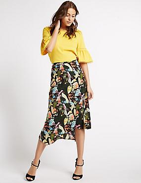 Printed Midi Skirt, BLACK MIX, catlanding
