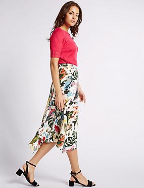 Printed Midi Skirt, MULTI, catlanding
