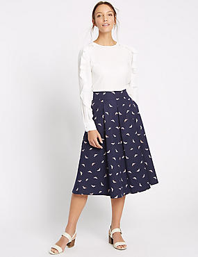 Cotton Rich Insect Print A-Line Midi Skirt, NAVY MIX, catlanding
