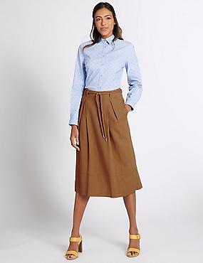 Linen Rich Belted A-Line Midi Skirt, TAN, catlanding
