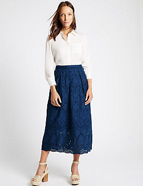 Pure Cotton A-Line Skirt, COBALT, catlanding