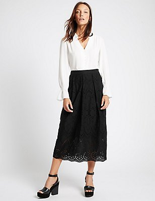Pure Cotton A-Line Skirt, BLACK, catlanding