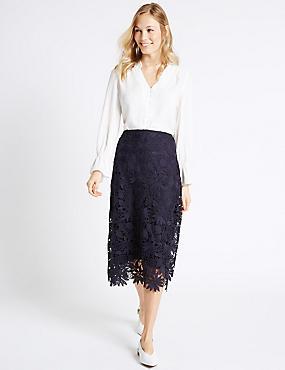 Floral Lace A-Line Midi Skirt, NAVY, catlanding