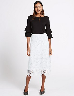 Floral Lace A-Line Midi Skirt, IVORY, catlanding