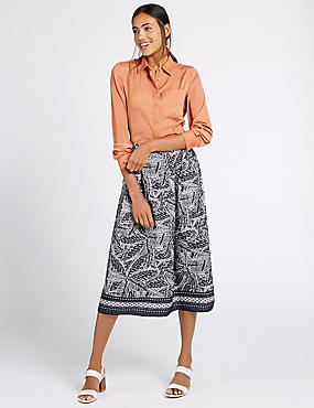 Leaf Print A-Line Midi Skirt, BLACK MIX, catlanding