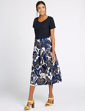 Floral Print A-Line Midi Skirt, BLUE MIX, catlanding