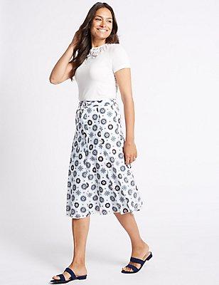Pure Cotton Floral Print A-Line Midi Skirt, BLUE MIX, catlanding