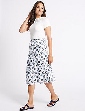 Pure Cotton Floral Print A-Line Midi Skirt, BLUE MIX, catlanding