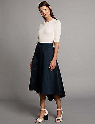 Cotton Rich Dipped Hem A-Line Midi Skirt, NAVY, catlanding