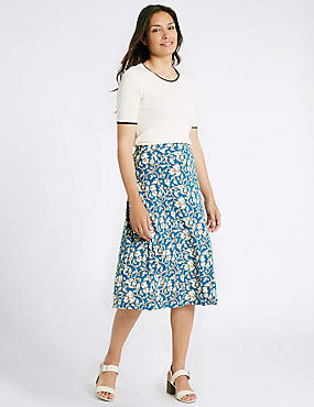 Floral Print A-Line Midi Skirt , TURQUOISE MIX, catlanding