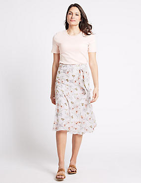 Pure Cotton A-Line Midi Skirt, WHITE MIX, catlanding