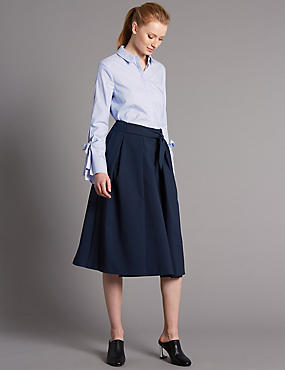 Cotton Blend Tie Front A-Line Midi Skirt, NAVY, catlanding
