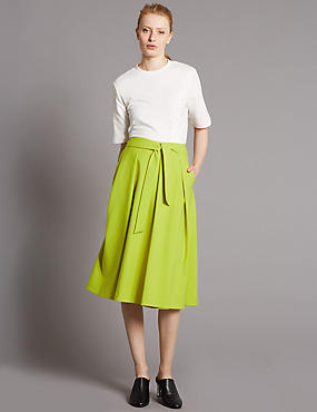 Cotton Blend Tie Front A-Line Midi Skirt, YELLOW, catlanding