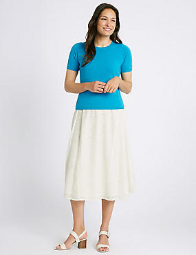 Burnout A-Line Midi Skirt, WINTER WHITE, catlanding