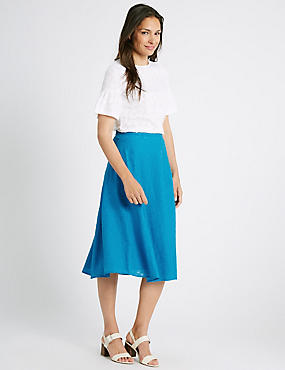 Burnout A-Line Midi Skirt, TURQUOISE, catlanding