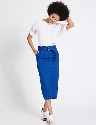 Cotton Blend Belted Pencil Midi Skirt, COBALT, catlanding