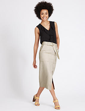 Cotton Blend Belted Pencil Midi Skirt, NEUTRAL, catlanding