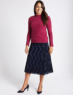Printed A-Line Midi Skirt, NAVY, catlanding