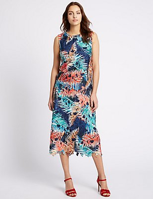 Blurred Leaf Print Lace A-Line Midi Skirt, MULTI, catlanding