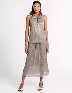 Metallic Pleated A-Line Midi Skirt, GOLD, catlanding